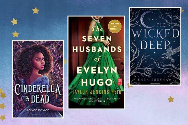 Capas dos livros Cinderella Is Dead; The Seven Husbands of Evelyn Hugo e The Wicked Deep em um fundo de textura degradê roxa com azul e rosa, estrelas amarelas decoram a imagem