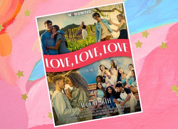 poster do filme filme Love, Love, Love. Ao centro, o nome do vídeo. Ao redor dele, estão os integrantes do Now United