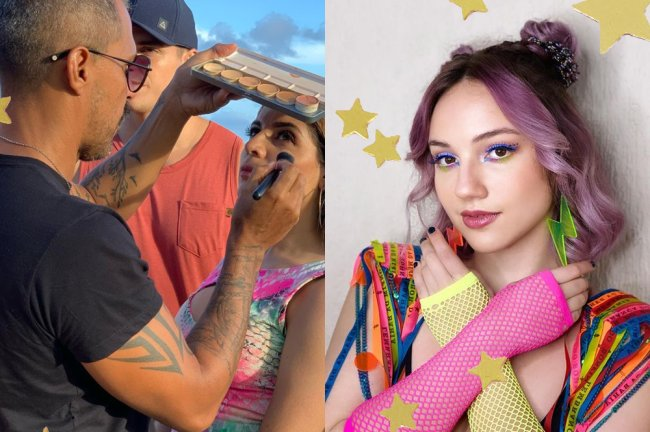 Fotos dos bastidores do filme Carnaval, da Netflix, com as atrizes sendo maquiadas