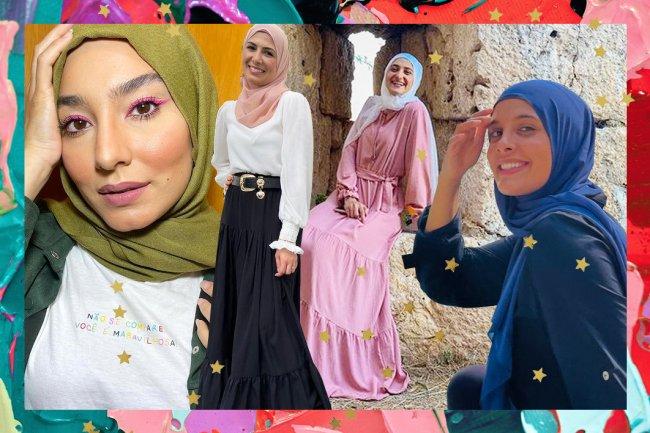 Colagem de mulheres muçulmanas usando o hijab, véu que deixa apenas o rosto e as mãos à mostra. Todas estão sorrindo.