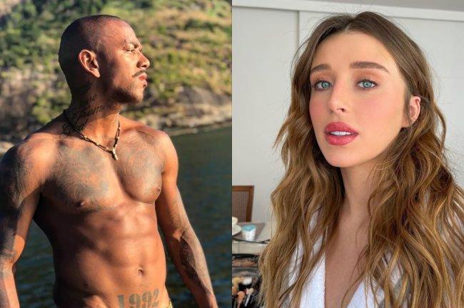 À esquerda, uma foto do Nego do Borel na praia, todo tatuado, olhando para o lado com cara de bravo. À direita, uma foto da Duda Reis em casa, produzida para um editorial de fotos, com cara de plena.