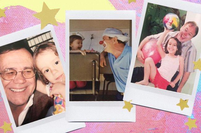 Foto da Laisa, da Galera CAPRICHO, com o pai. Ele aparece vestido de palhaço nas imagens e a Laisa é ainda uma bebê