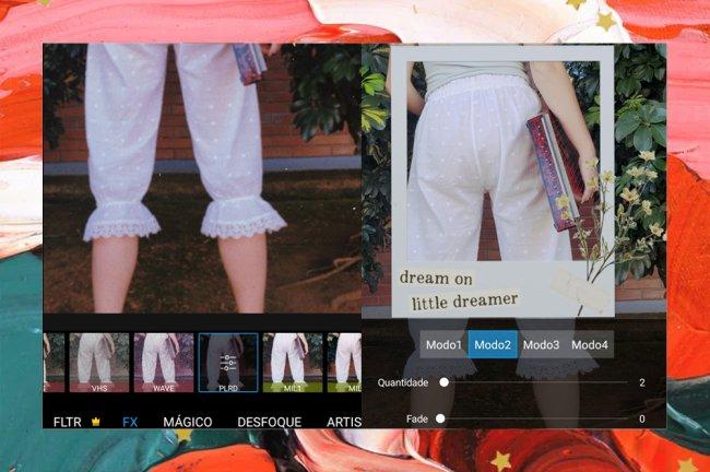Prints da tela de um celular, que mostra uma foto sendo editada em um aplicativo de fotos. A modelo veste uma calça rendada e a imagem traz edições bem vintage, como uma polaroid