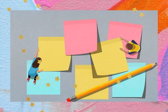 Ilustração de dois alunos organizando post-its gigantes