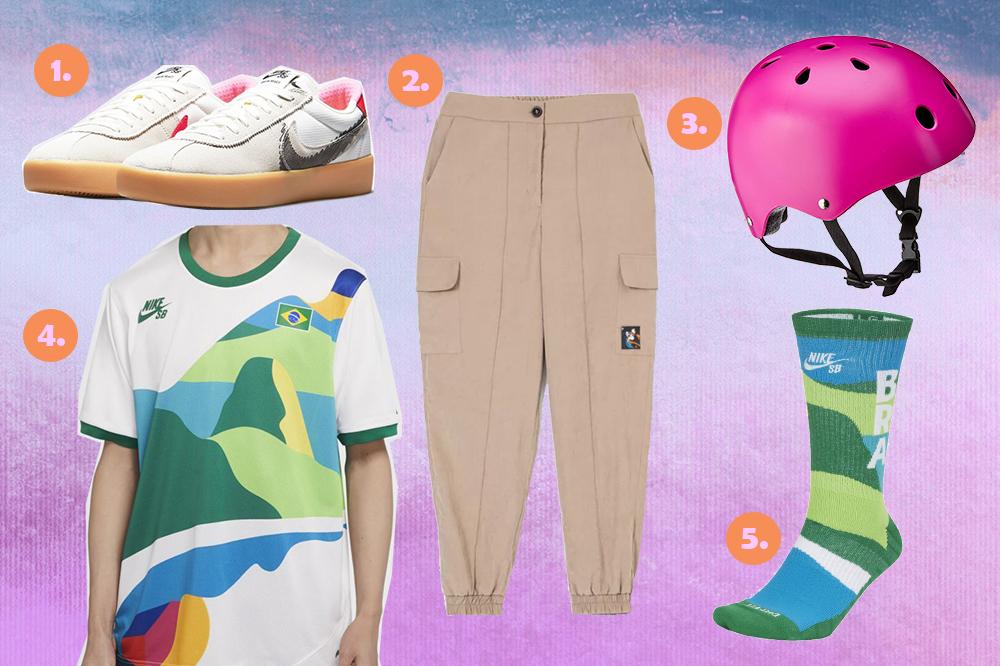 Montagem com produtos de skate em fundo em degradê com tons de azul, roxo e rosa. Um tênis da Nike, uma calça cargo kaki, um capacete rosa, uma camiseta do Brasil e uma meia do Brasil também da Nike.