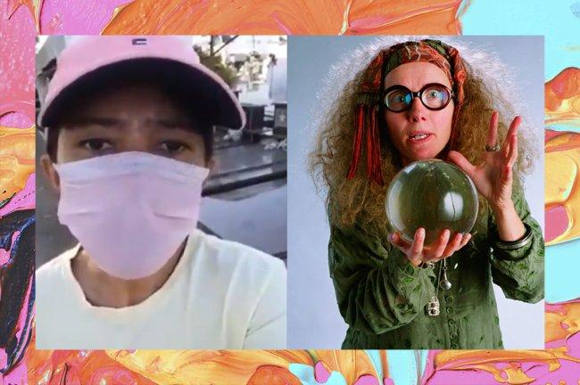 À esquerda, print de um meme de uma mulher contando que ficou presa no cemitério após profecia. Ela veste boné e máscara rosas. À direita, imagem da Professora Trelawney, de Harry Potter. A vidente segura uma bola de cristal na mão