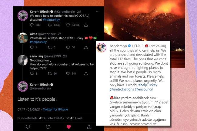 Prints do Twitter e do Instagram falando sobre os incêndios na Turquia