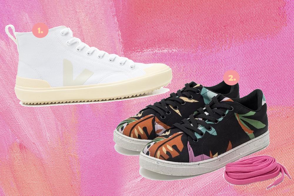 Montagem em fundo rosa com dois tênis, um branco de cano alto e um com estampa floral de cano baixo.