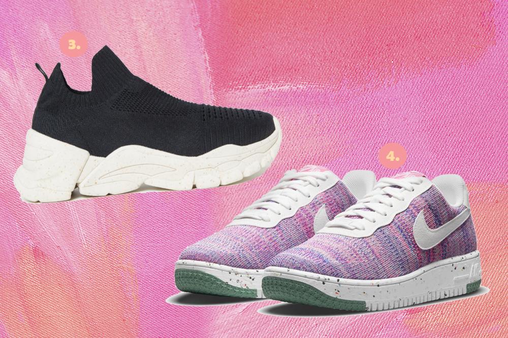 Montagem em fundo rosa com dois tênis, um preto com solado branco e um em tons de lilás com solado branco.