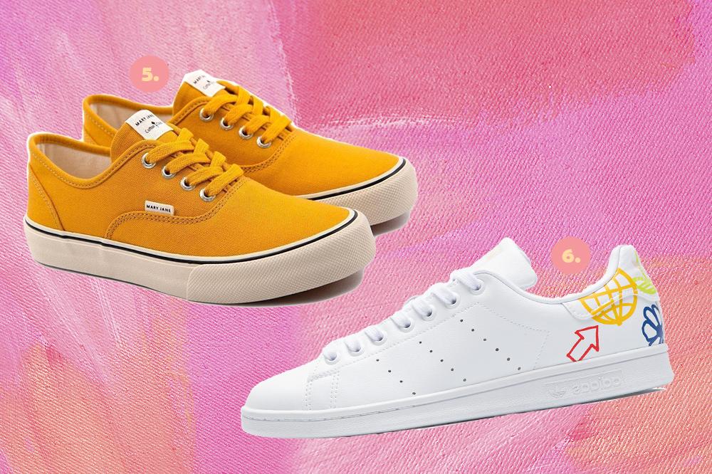 Montagem em fundo rosa com dois tênis, um amarelo mostarda e um branco.