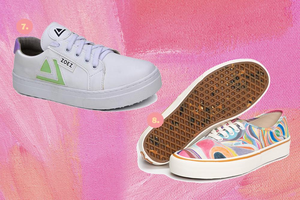 Montagem em fundo rosa com dois tênis, um branco com verde e um todo colorido com sola branca.