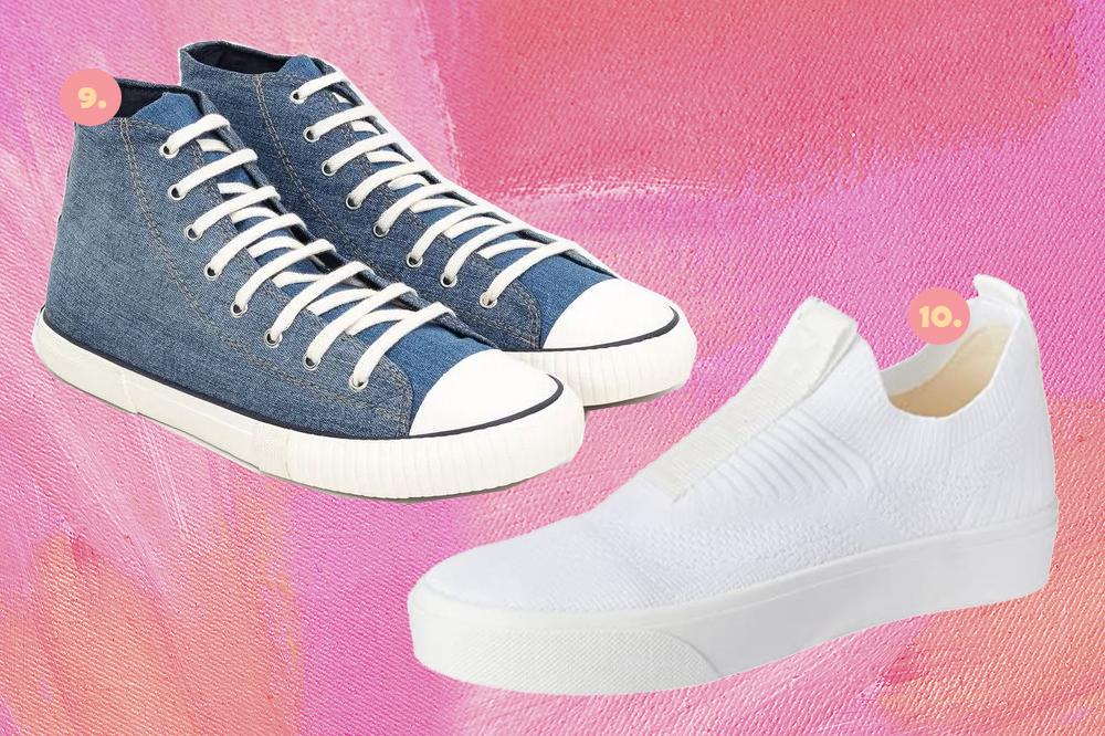 Montagem em fundo rosa com dois tênis, um jeans de cano alto e um branco de cano baixo.