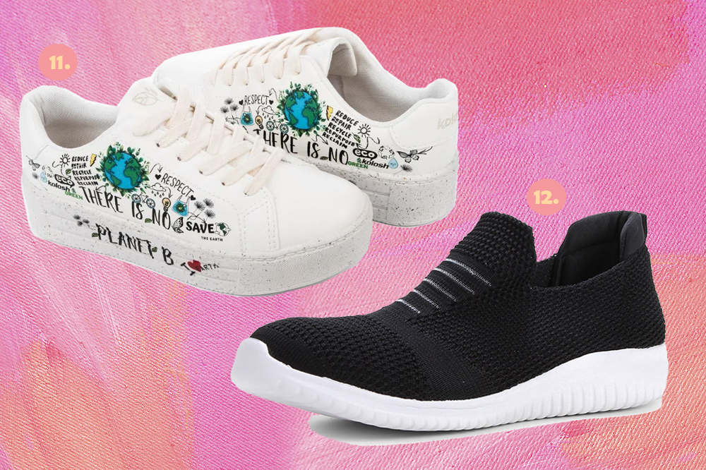 Montagem em fundo rosa com dois tênis, um branco com desenhos nas laterais e um preto com solado branco.