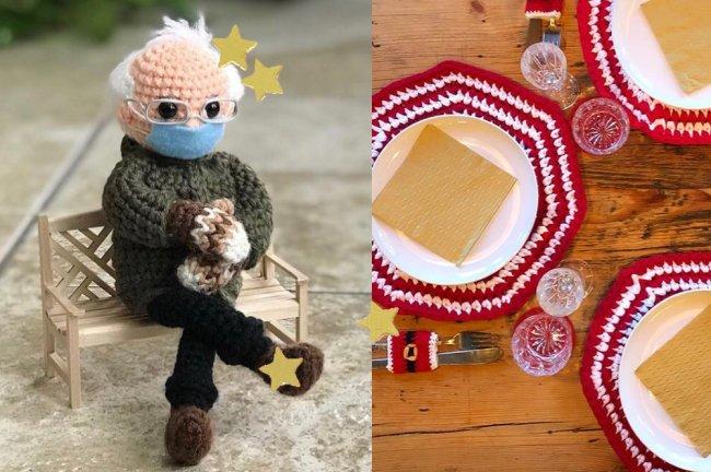 Um bonequinho de crochê reproduzindo um senhor sentado no banco com máscara e um jogo americano de crochê