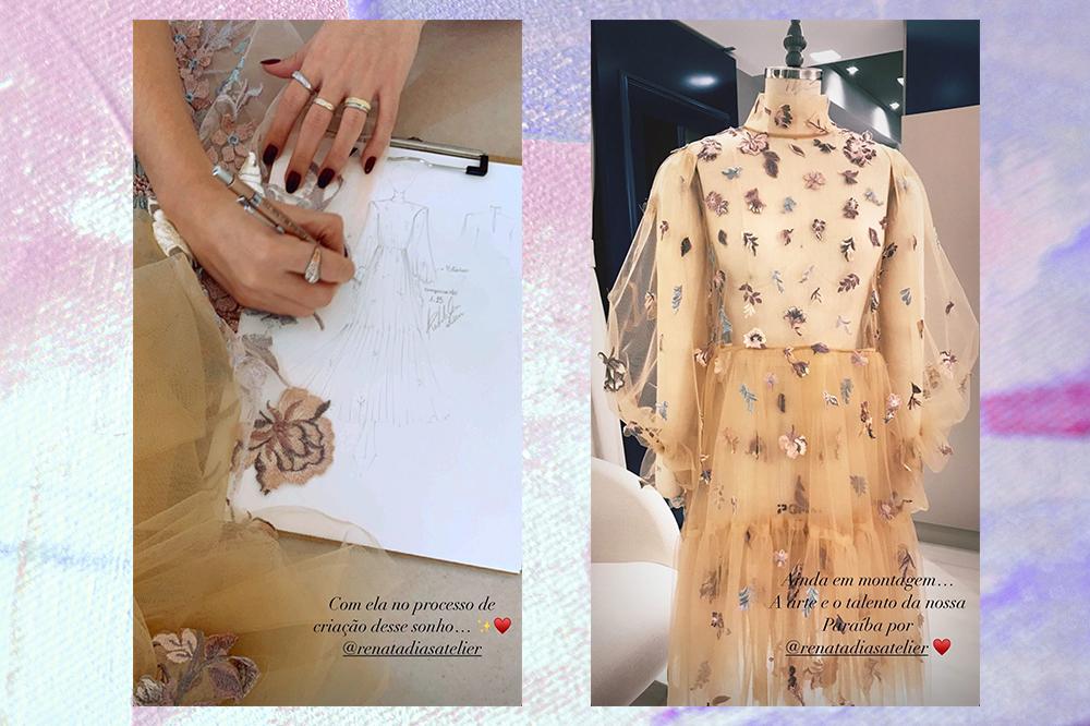 Montagem com duas fotos de um vestido da Renata Dias Atelier usado por Juliette em fundo lilás e rosa. À esquerda, há uma mão que está fazendo o croqui do vestido. À direita, o vestido ainda inacabado, de tule nude com bordados florais.