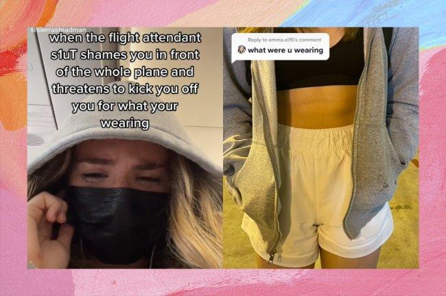 Prints do TikTok de uma garota usando um capuz cinza e uma máscara de proteção preta, chorando sentada no assento do avião. Ao lado, foto da roupa que ela vestida: um short branco, um top preto e uma jaqueta cinza