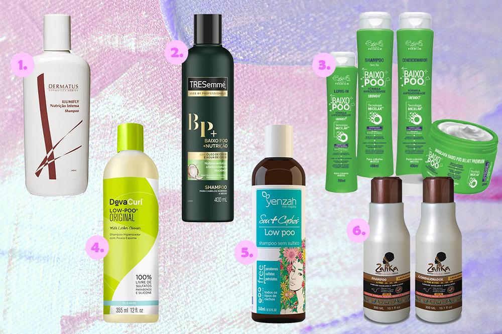 Montagem com opções de produtos low poo para o cabelo em fundo com tons de rosa e lilás.