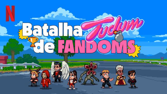 Arte de divulgação da Batalha de Fandoms Tudum, promovida pela Netflix Brasil. Ela imita um jogo antigo de videogame, com personagem pixelados numa disputa à la desenho Corrida Maluca