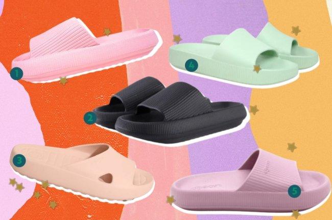 Montagem com 5 opções de chinelos e atrás um fundo colorido.