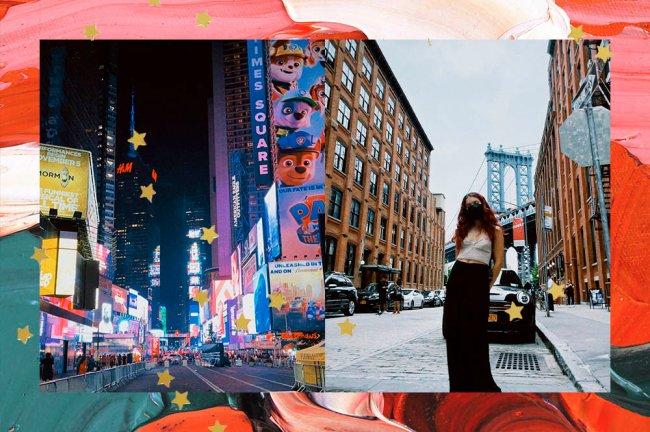 Colagem com duas fotos de Nova Iorque. Na primeira, está a Times Square. Na segunda, uma menina posando em frente a uma rua da cidade.