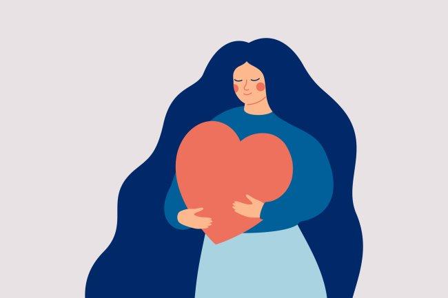 Ilustração de uma garota segurando junto ao peito um coração enorme. Ela está em paz.