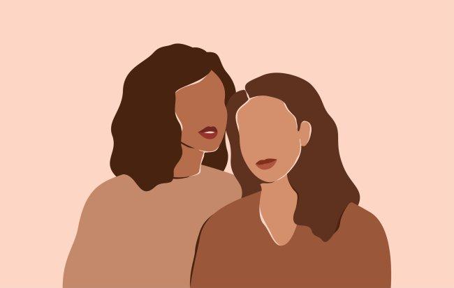 Ilustração de duas mulheres negras com suas cabeças encostadas uma na outra