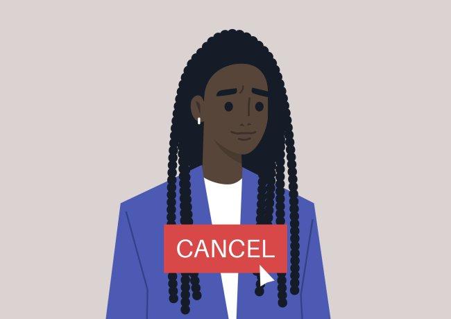 Ilustração de uma mulher negra sendo prestes a ser cancelada