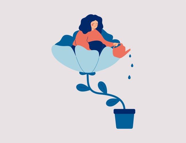 Ilustração de uma mulher dentro de uma flor, regando o balde de planta em que está florescendo
