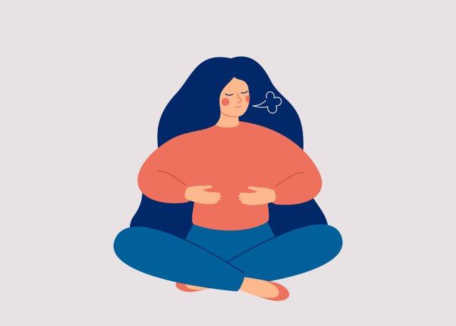 Ilustração de uma garota sentada no chão, com as pernas cruzadas, com as mãos sobre o diafragma, fazendo exercícios de respiração