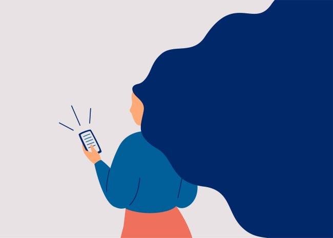 Ilustração de uma garota lendo algo chocante no celular