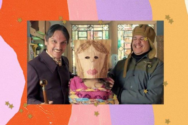Montagem com foto dos personagens do filme Carrossel.