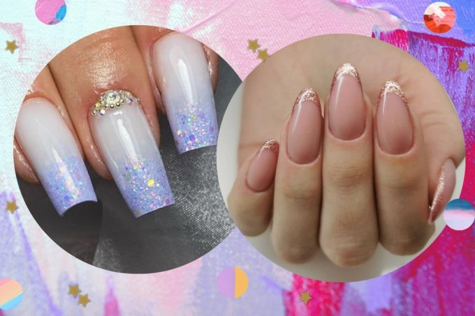 Nail art francesinha com glitter