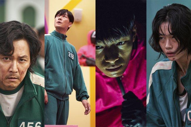 Montagem com 4 imagens da série Round 6, da Netflix, com os personagens apresentando expressões confusas e assustadas