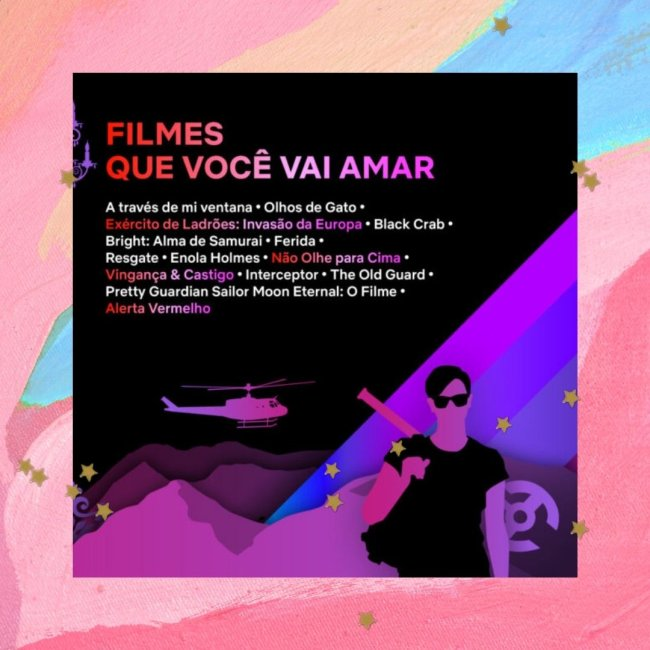 Fundo colorido com rosa, azul, bege e estrelinhas. Com uma imagem com fundo preto de divulgação do TUDUM Mundial, evento da Netflix.