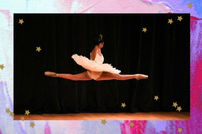 Foto com borda colorida ao redor de uma imagem de uma bailarina saltando.