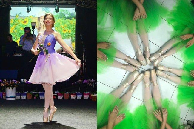 Fotos da Antonela, da Galera CAPRICHO, vestida de bailarina. À esquerda, ela se apresenta em sua festa de 15 anos. À direita, a imagem de várias pernas unidas, todas com pés vestindo sapatilhas de ponta