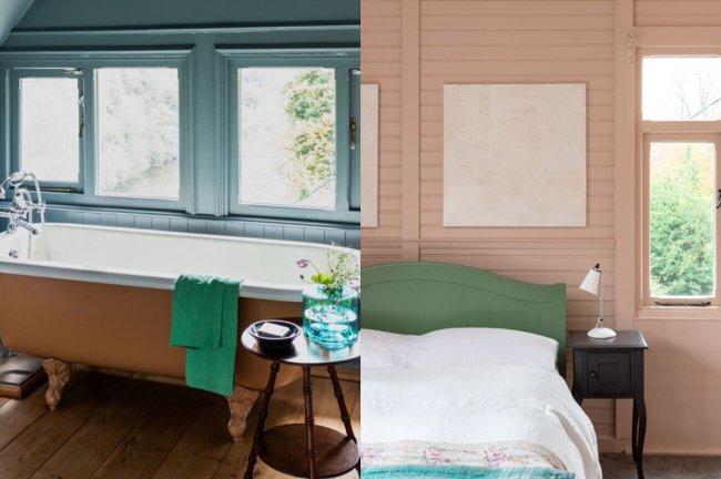 Foto de um banheiro com uma janela enorme e uma banheira rosé, e de um quarto feito em madeira, pintado de branco e com uma cama aconchegante
