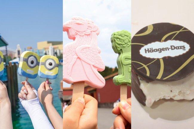 Imagens mostrando alguns sorvetes vendidos na China: em forma de minion, dragão e um exclusividade Häagen-Dazs (um sanduiche de sorvete)
