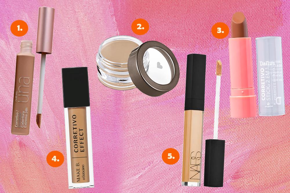 Montagem em fundo rosa com cinco corretivos de maquiagem diferentes