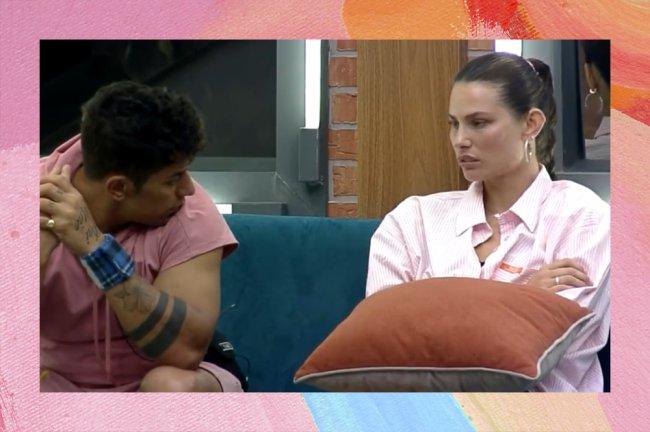 Dayane Mello conversando com o sertanejo Tiago em A Fazenda