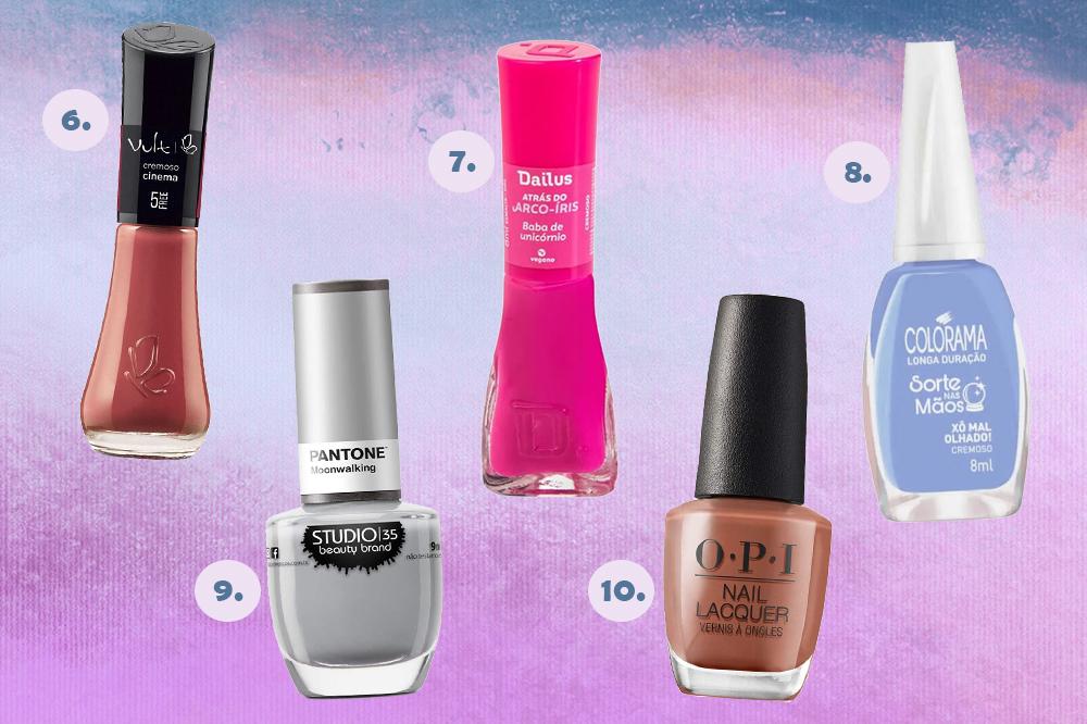 Cinco cores de esmaltes diferentes em fundo degradê roxo e azul. Há esmalte nude, rosa, azul, cinza e marrom.