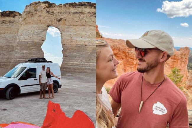 Montagem com fotos da viagem de Gabby Petito e Brian. À esquerda, eles estão na frente de uma van branca. À direita, um selfie em frente a canions