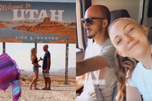 Prints de fotos da Gabby Petito no Instagram. Ela aparece feliz ao lado do noivo, viajando pelos EUA em uma van branca