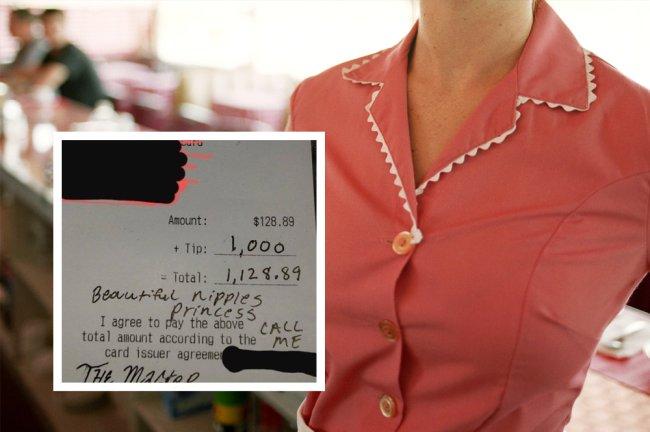 Foto de uma garçonete ao fundo. Sobre ela, a imagem de uma nota fiscal com uma gorjeta de mil dólares e o recado: