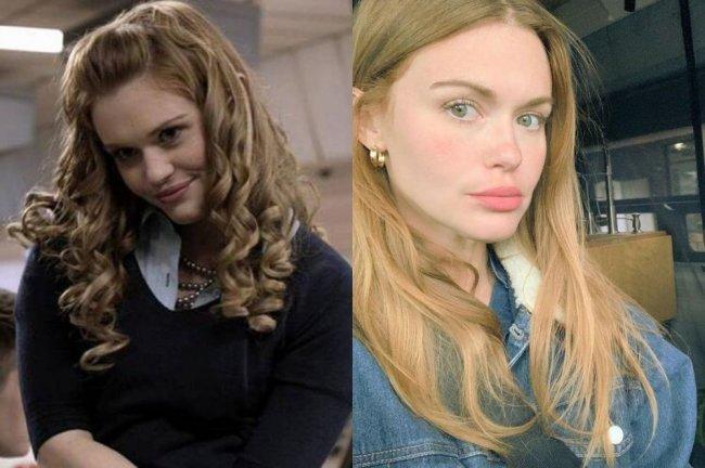 Duas fotos de Holland Roden. Em uma, a atriz aparece atuando em Teen Wolf, com cabelos enrolados e suéter. Na outra, a atriz posa dentro do carro para uma selfie.