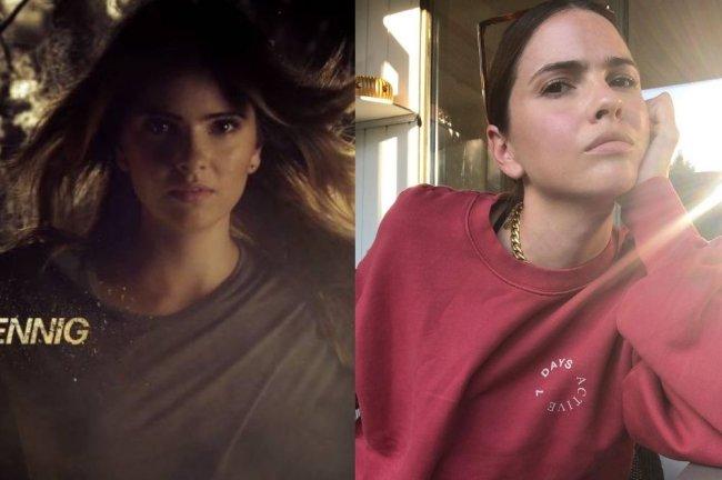 Montagem com duas fotos; na primeira Shelley Hennig de cabelo solto na abertura de Teen Wolf e na segunda uma selfie da atriz de cabelo preso com expressão séria o rosto apoiado na mão