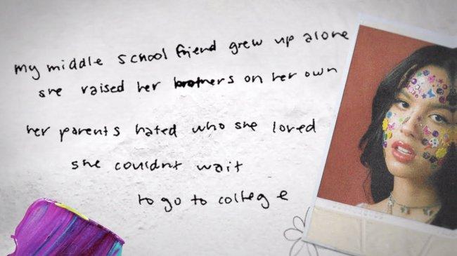 Print de imagem de divulgação do álbum Sour, da Olivia Rodrigo