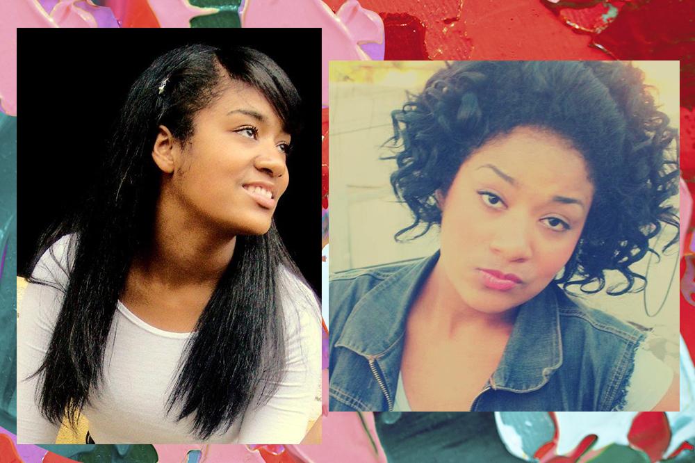Montagem de duas fotos da influenciadora Sah Oliveira em fundo colorido. À esquerda, de cabelo liso antes da transição capilar, à direita durante a transição.