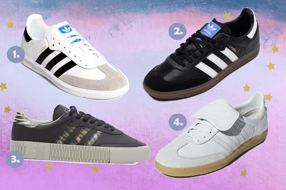 Montagem com quatro opções do tênis Adidas Samba em fundo degradê lilás e azul com estrelinhas douradas.