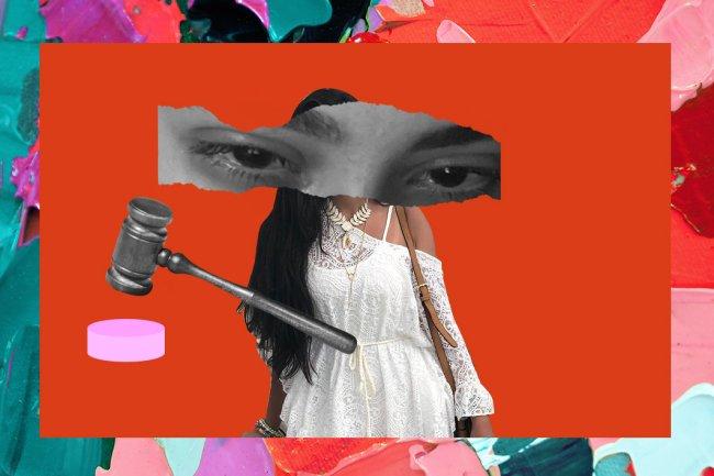 Colagem com fotos de Mariana Ferrer, antes e após o crime de estupro, e um martelo de Justiça ao lado